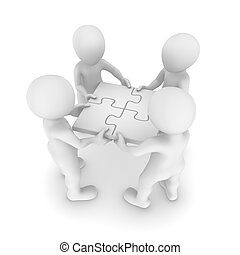 mensen, teamwork, 3d, raadsel