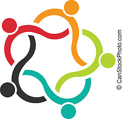mensen, teamwork, logo, 5, golf