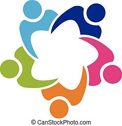 mensen, teamwork, unie, logo, 5