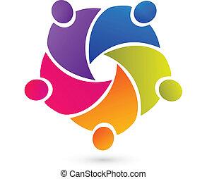 mensen, teamwork, unie, logo, vector