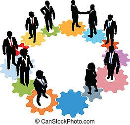 mensen, technologie, toestellen, handel team