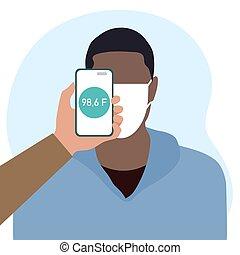 mensen, temperatuur, scanderen, telefoon, gezondheid, afstand