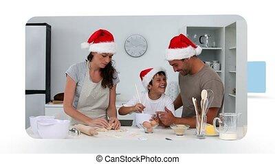 mensen, thuis, montage, kerstmis, vieren