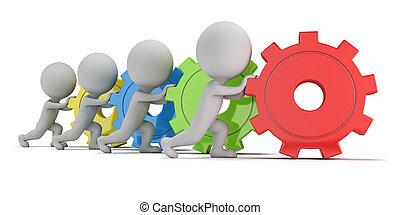 mensen, -, toestellen, team, kleine, 3d