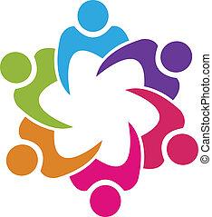 mensen, unie, vector, teamwork, 6, logo