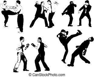 mensen, vector, straggle., vechten, silhouettes., illustratie