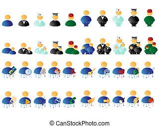 mensen, veelkleurig, iconen