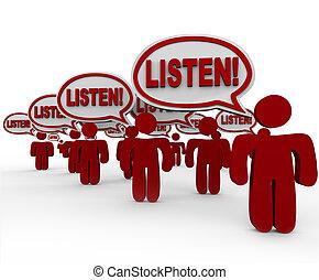 mensen, velen, aandacht, -, veeleisend, klesten, luisteren