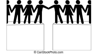 mensen, verbinden, toevoegen, bereiken, samen, groepen