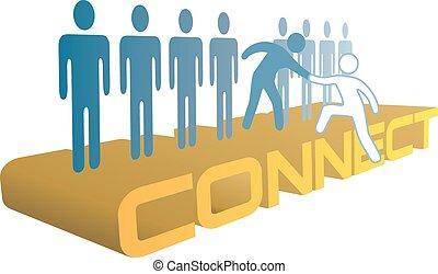 mensen, verbinden, toevoegen, op, groep, hand, helpen