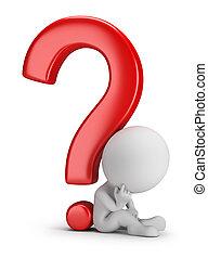mensen, vraag, -, pondering, kleine, 3d