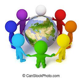 mensen, vrede, -, kleine, aarde, 3d