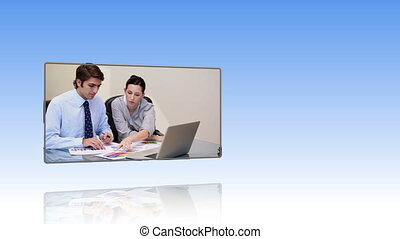 mensen, werkende , draagbare computer, zakelijk