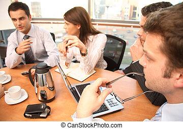mensen, werkende , groep, zakelijk, brainstorm.