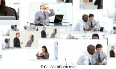 mensen, werkende , montage