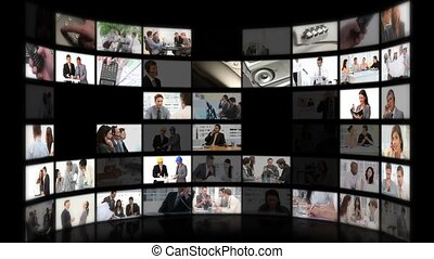 mensen, wisselen, of, montage, zakelijk, phoner, ideeën, vergadering