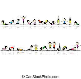 mensen, yoga, jouw, achtergrond, seamless, beoefenen, ontwerp