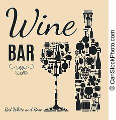 menu, hout samenstelling, wijntje