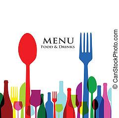 menu, ontwerpen, dekking, retro, restaurant