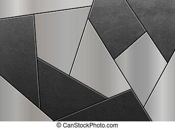 metaal, plates., pattern., mozaïek, staal, gemaakt, geometrisch