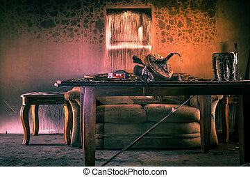 meubel, beschadigd, vuur
