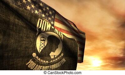 mia, pow, (1097), amerikaanse vlaggen, ondergaande zon