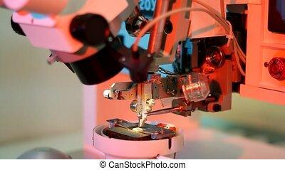 microelectronic, bonder, universeel, uitrusting, werken, draad