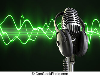 microfoon, audio, golven, &