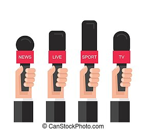 microfoons, holdingshanden, set