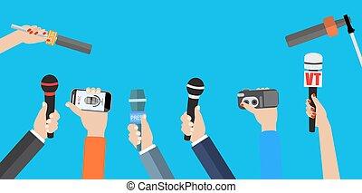microphones., set, holdingshanden