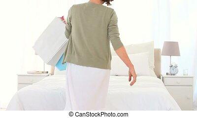 middelbare leeftijd , haar, vrouw, kleren, testen