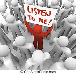 mij, menigte, krijgen, aandacht, meldingsbord, persoon, tries, luisteren