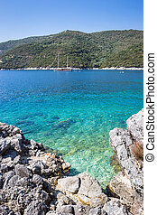 mikros, dorp, lefkada, eiland, gialos, strand, poros, griekenland