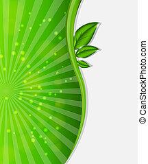 milieu, vector, achtergrond, illustratie, plant.