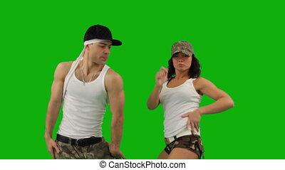 militair, dans, achtergrond, grijze