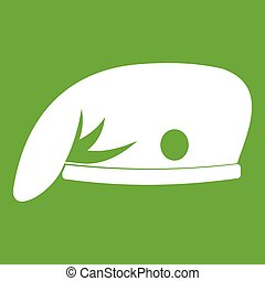 militair, pet, groene, pictogram