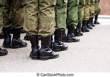 militair, soldaat, uniform, roeien