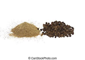(milled), peper, vrijstaand, erwtjes, zwarte achtergrond, aanzicht, witte , geheel, bovenkant, grond
