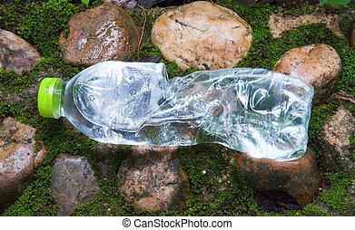 mineraal, plastic, water, bos, fles, kleine