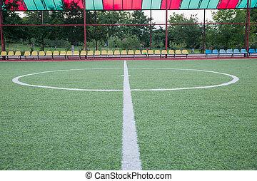 mini, het doel van de voetbal, akker, binnen, binnen, gras, kunstmatig, centrum, stadion, bal, achtergrond, voetbal, hoogste mening