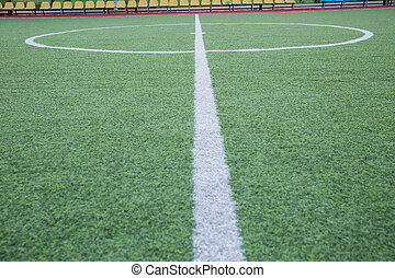 mini, het doel van de voetbal, akker, binnen, binnen, kunstmatig, centrum, stadion, bal, achtergrond, .soccer, gras, hoogste mening