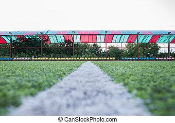 mini, het doel van de voetbal, binnen, binnen, gras, kunstmatig, centrum, akker, bal, achtergrond, voetbal, hoogste mening