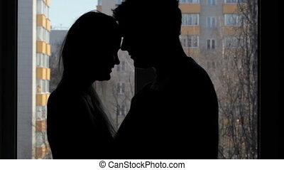 minnaars, twee, embracing., silhouette.