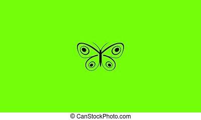 minuscuul, pictogram, animatie, vlinder