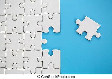 missende , missing., klus, stukken, raadsel, eind-, concept, vervolledigen, stuk, zakelijk, piece., jigsaw