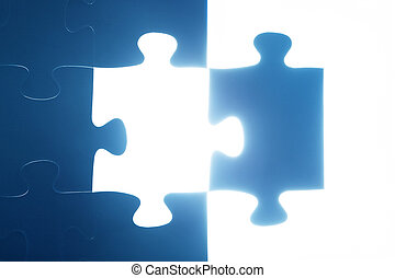 missing., licht, raadsel, jigsaw, problem., oplossen, glowing., stuk, oplossing
