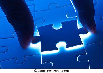 misterie, licht, puzzelstuk, plukken