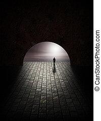 misterie, tunnel, man