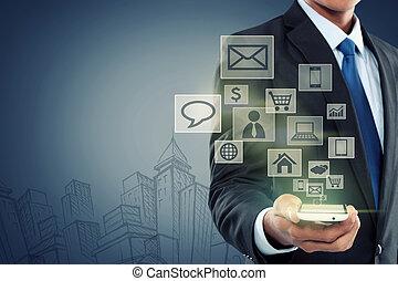 mobiel communicatiemiddel, moderne technologie, telefoon
