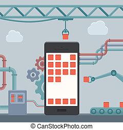 mobiele telefoon, bouwsector, concept